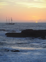 sunset w/ship